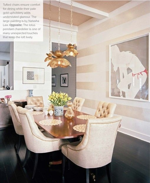 cream/gold striped walls...and ceiling...and tufted dining chairs....and dark floor...and pretty chandelier ;)