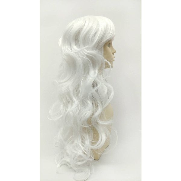 Long 25 Inch Wavy White Color Wig With Bangs Anime Cosplay Costume Wig... ($40) ❤ liked on Polyvore featuring costumes, bath & beauty, hair care, silver, wigs, silver costume, wig costume, animal costumes, cosplay costumes and white halloween costumes