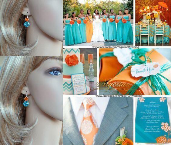 Handmade Swarovski Lt Turquoise & Tangerine Crystal Earrings (Sparkle-2632-LTQT) #Handmade #DropDangle