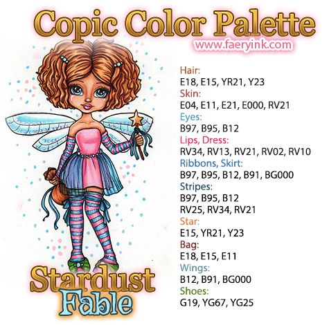 Stardust Fable Copic Color Palette by Amanda S Byron www.FaeryInk.com