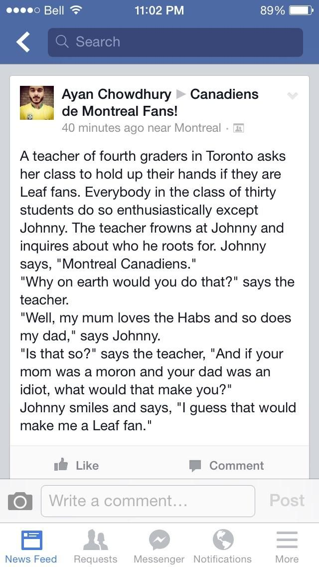 Not a Canadiens or Leafs fan, but hilarious!