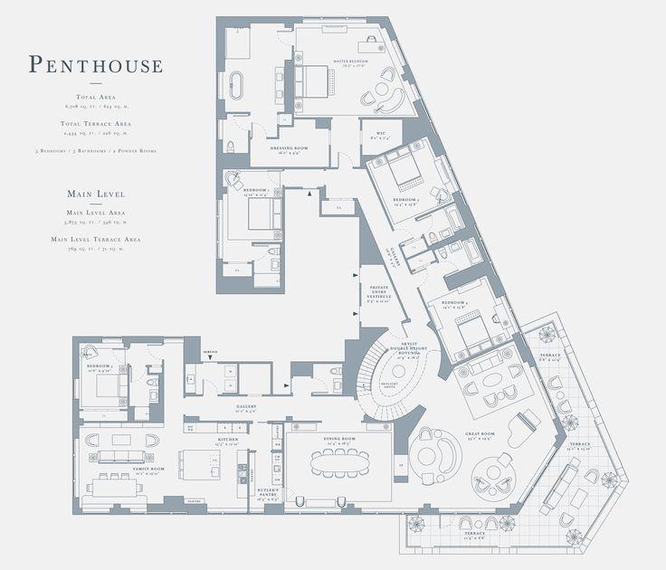 97 best penthouse images on pinterest | apartment floor plans