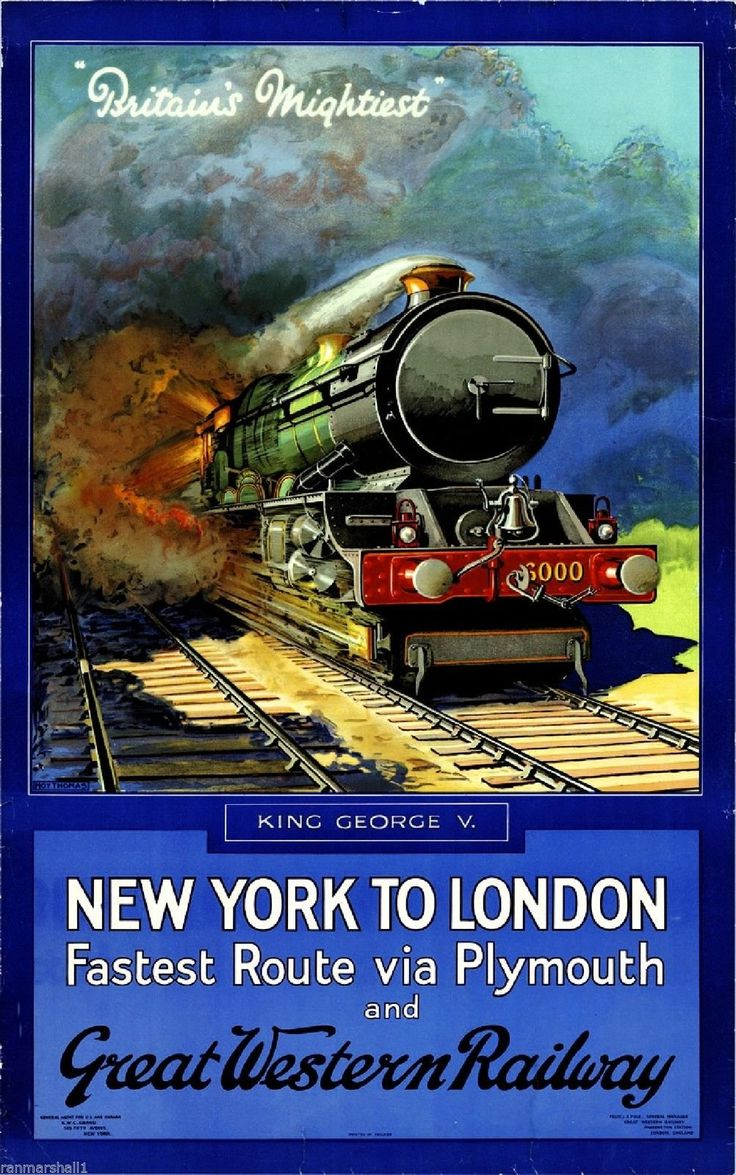 Britain's Mightiest New York London Railway Vintage Travel Advertisement Poster