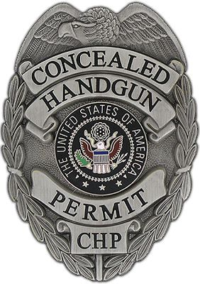 """Concealed Weapon Permit Badge (Gun-Metal) An absolute must for any person that carries a concealed weapon. Measuring 3"""" x 2 1/4"""", this gun-metal colored, high-luster finish badge is outiftted with a heavy duty clip style attachment."""