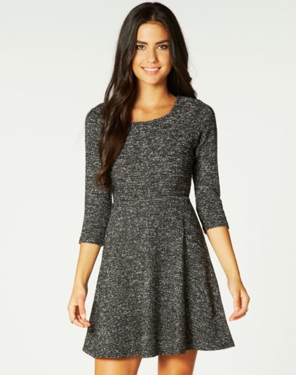 Short, Textured 3/4 Sleeve Dress, Buy Online