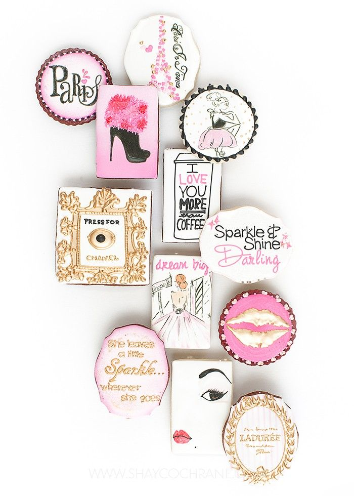 Photography, Prop styling, and product styling by Shay Cochrane for Sparkle and Shine Darling | www.shaycochrane.com   hand painted cookies, cookies, paris inspired, pink, gold, black and white, edible, props, prop styling, product styling, photography tips, styling tips, You Can Call Me Sweetie cookies