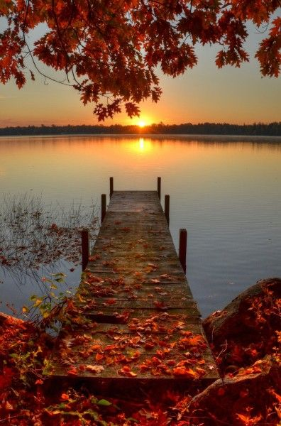 Sunset Dock-Pelican Lake, Wisconsin (I would solve ALL of the world's problems sitting on the edge of this dock with a bottle of wine!!) Gorgeous!