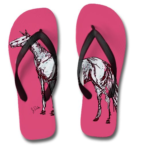 Pink Horse Equestrian Flip Flops - The Painting Pony