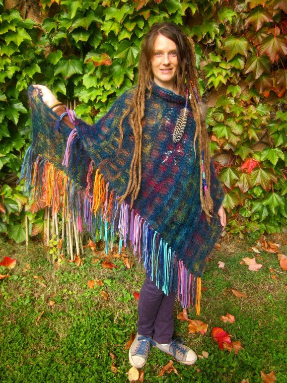 Hey, I found this really awesome Etsy listing at https://www.etsy.com/listing/208688705/rainbow-fringe-festival-poncho-blue-hand
