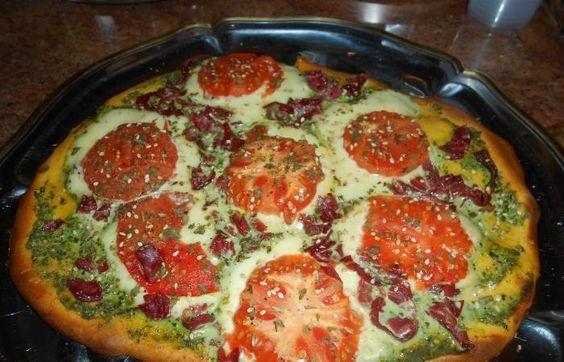 Régime Dukan (recette minceur) : Pizza au Pesto #dukan http://www.dukanaute.com/recette-pizza-au-pesto-12399.html