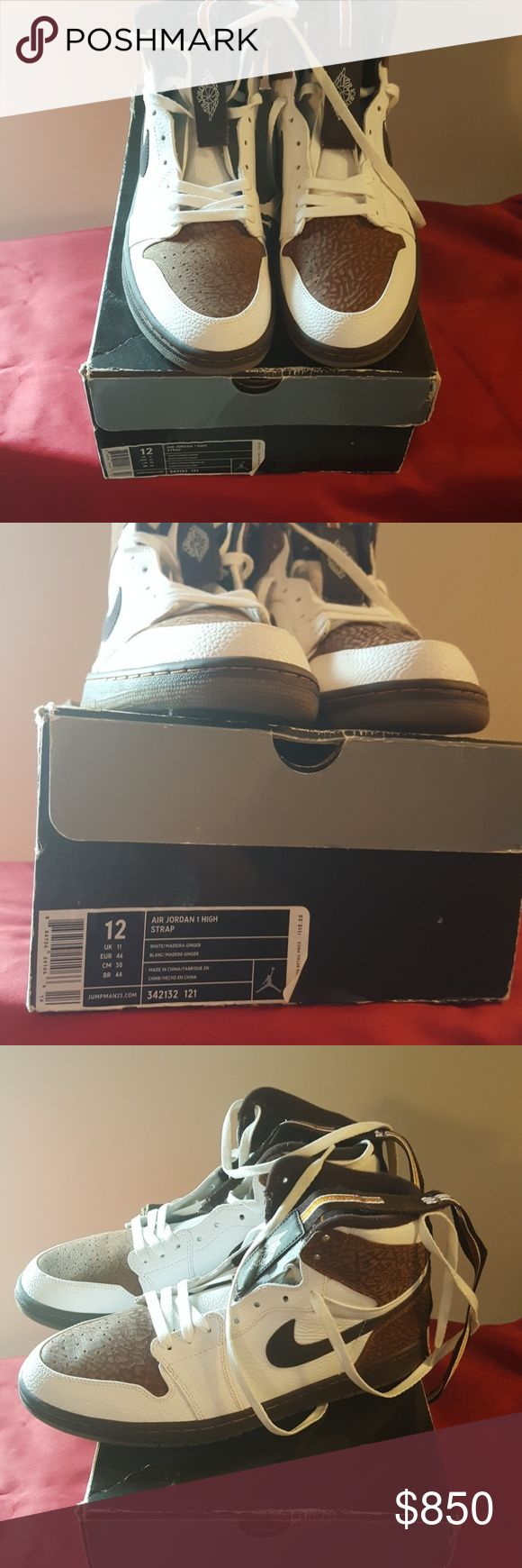 100% DS and 100% Authentic Jordan 1 Madereira Nobody has a 12 in stock. 2009 shoe, like New. 9.9999/10. Sharp.. I have searched the web, these are DeadStock.  JORDAN 1 with Strap still smell new.. And let me tell u they are clean!! People will definitely notice you!!! ABSOLUTELY No Trades.. this shoe is for the baller! Even Flight club doesn't have shoe available. Offers are welcome, but absolutely no lowballs.. Jordan Shoes Sneakers