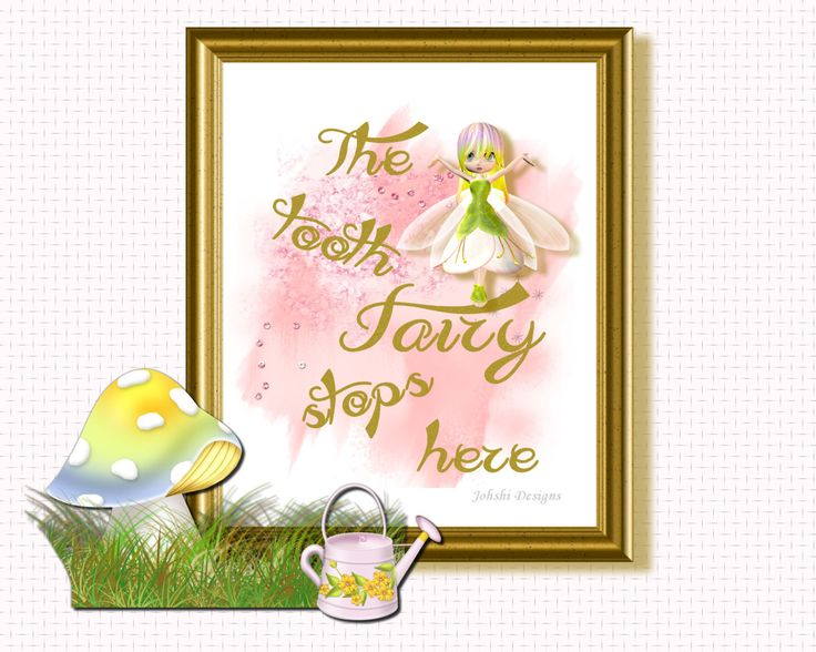 NURSERY PRINT -THE Tooth fairy  - digital download - printable art - Wall decor by JohshiDesigns on Etsy