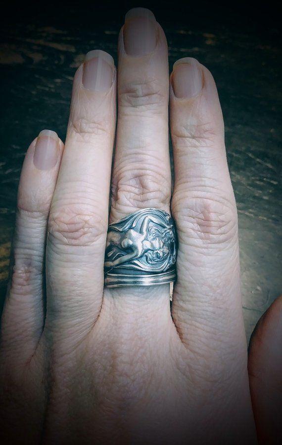 Goddess Ring Lotus Flower Ring Sterling Silver Spoon Ring Art