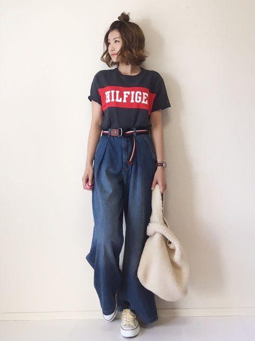 一個前のTシャツと色違い😊✨ ベルトもTOMMYさんです✨✨ bagはFREAK'Sさん! リバー