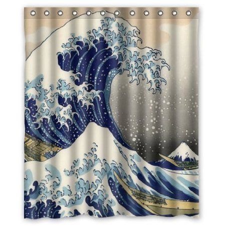 classic japanese the great wave off kanagawa pattern decor 100 polyester shower curtain 60