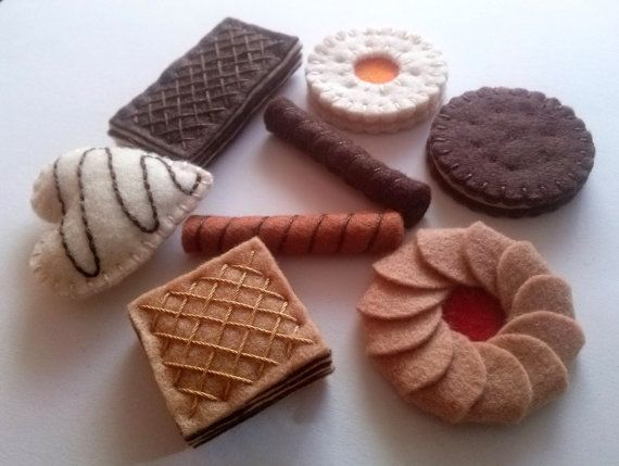 Felt food set  cookies biscuits tea party / small by DusiCrafts