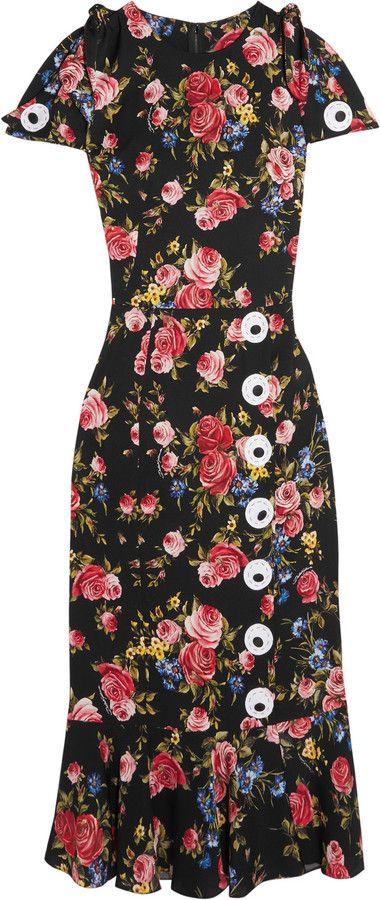 Dolce & Gabbana Robe En Charmeuse De Soie Mélangée à Imprimé Fleuri