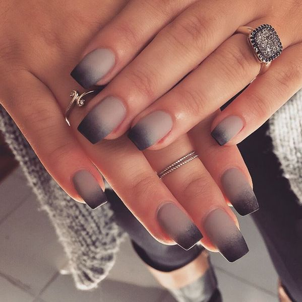 beauty nails mani manicure autumn stiletto uñas polish nail glitter fashion fall black matte ombre black