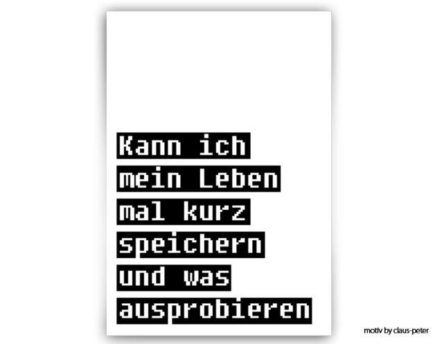 Digitaldruck -Typo Print | leben speichern // print by claus-peter-2 via dawanda.com