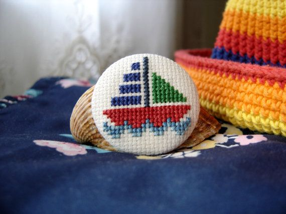 """Embroidery brooch """"Let's go to the sea!"""""""