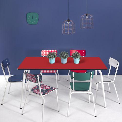 Cuisine Ikea Haut De Gamme : Table de cuisine en formica Vera pied blanc Les Gambettes  Blanc