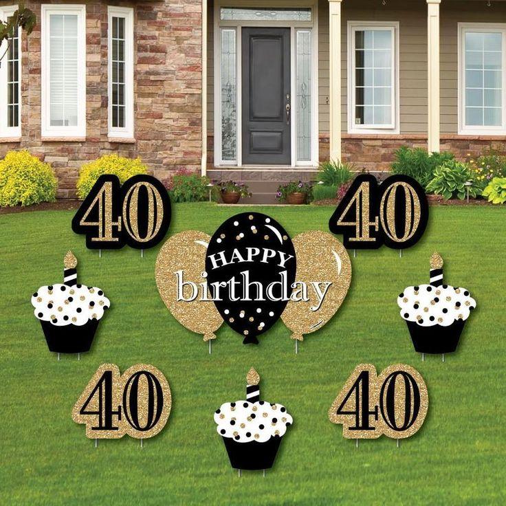 Adult 40th Birthday Gold Yard Decorations Cupcake & Etsy