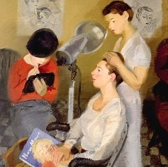 Isaac Soyer (Russian-American, 1902-1981), 'Beauty Shop', 1943, detail