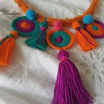 Necklace Bohemian style Handmade crochet mandala Exclusive necklace to use with boho garments