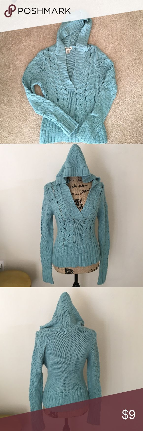 Sweater Hoody Cute sweater hoody for those get-up-and- go days, no ironing necessary. Great for a juniors or petite women. Size M, good condition with one snag (pic #4). Sweaters V-Necks