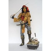 Lady Pirate Standing on Treasure with Sword & Parrot   use code 'cindy' for discount on these items lmtreasures.com for more great items code cindy for all discounts see my other pins for great cool items 626-252-7354