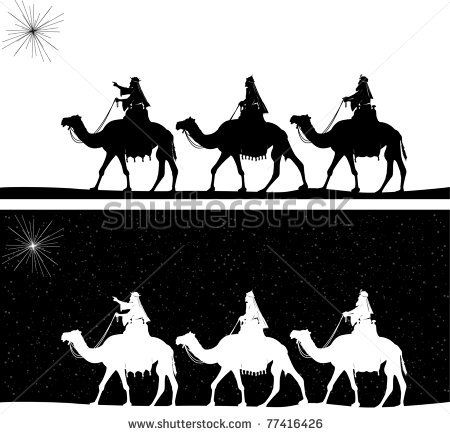 silhouette graphic illustration depicting the three wise men on camels following the shining star of Bethlehem