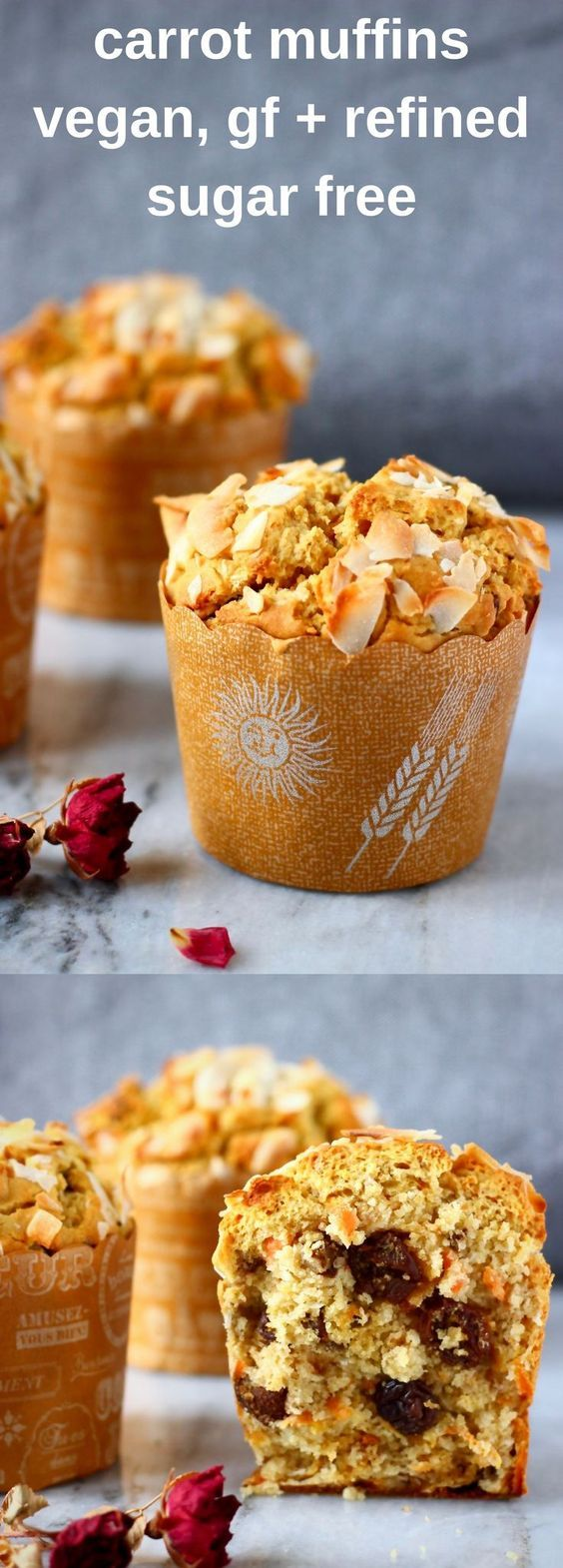 These Gluten-Free Vegan Carrot Muffins are moist and fluffy, fragrant and fruity, and perfect for a healthy breakfast! Refined sugar free.