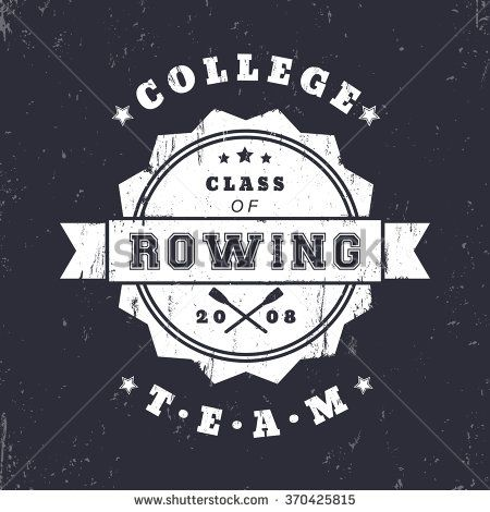 College Rowing team vintage grunge logo, badge with crossed oars, vector illustration - stock vector