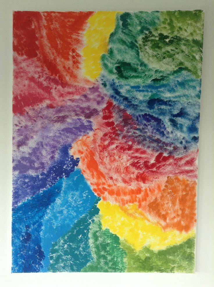 schilderij gemaakt met een spons en veel kleuren