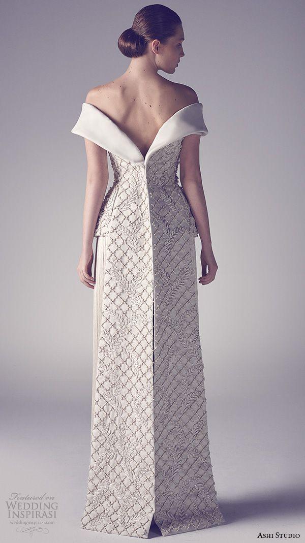 ashi studio couture 2015 off the shoulder embroideried bodice jacket fringe skirt back view