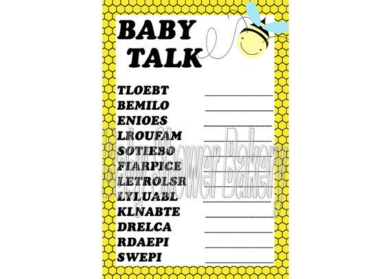 Bumble Bee Theme Baby Shower Game By BabyShowerBakery