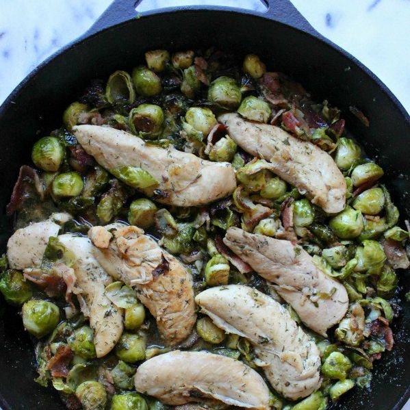 "Ranch Chicken Brussel Sprouts and Bacon Skillet ""Two Places At Once"" ""Food Blogger"" ""Recipe Blogger"" ""Recipost"" Reciposter Whole30"
