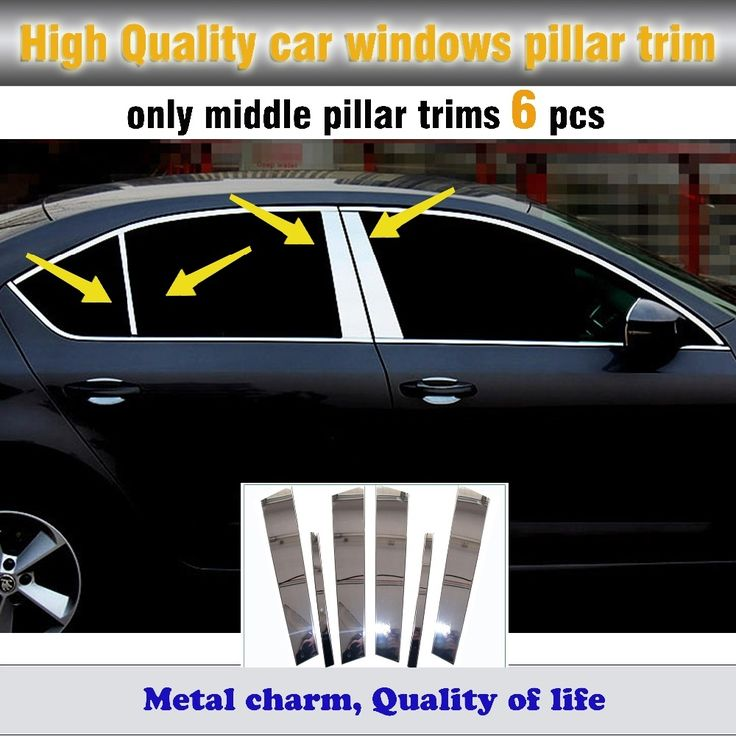 35.12$  Watch now - Top quality car body stick stainless steel glass window garnish pillar middle column trim hoods 6pcs for Sk0da Octavia 2015 2016   #SHOPPING