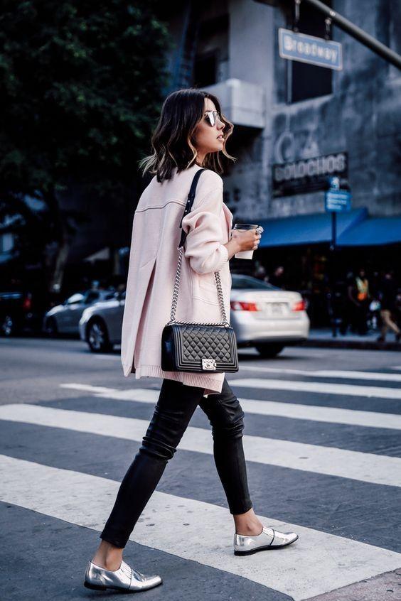 pink coat + black leggings + silver shoes