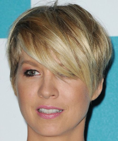 Another cute, short hair cut with long, side swept bangs. :)