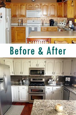 Kitchen remodel: painted oak cabinets -- before & after