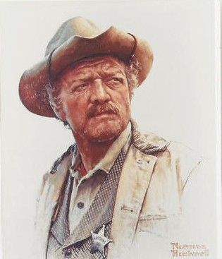 Van Heflin -Marshal Curly Wilcox 1966 Stagecoach, by Norman Rockwell