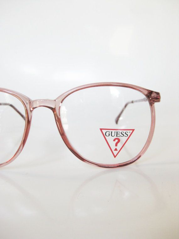 3dfd52df6461 Italian Round Eyeglasses Vintage 1970s Pastel Pink Glasses Rose Clear  Transparent 70s Indie Hipster Seventies Womens Italy Guess Designer