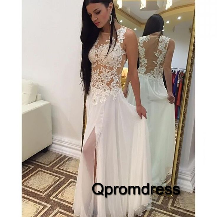 2016 beautiful see-through white lace chiffon prom dress, ball gown, prom dresses long #coniefox #2016prom