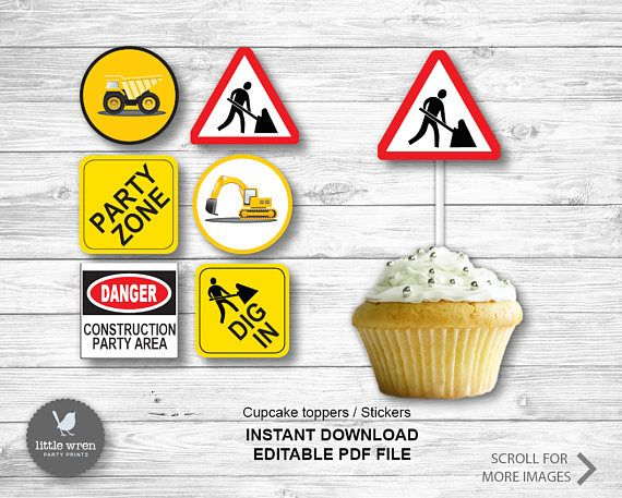 Construction Party Construction cupcake topper instant download