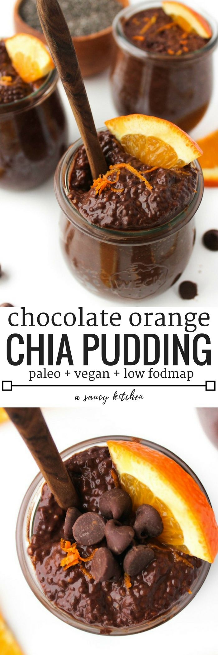 Chocolate Orange Chia Pudding   whipped together in a pinch and is perfect for breakfast and dessert alike.   Paleo, Vegan, Low FODMAP