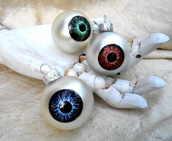 Eyeball Christmas Ornament spooky eye holiday by rainbeauxcraft
