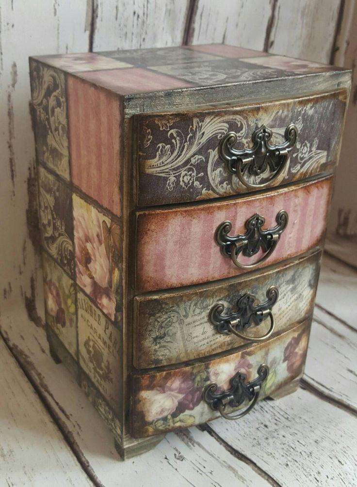 Wooden Mini Chest Of Drawers Jewellery Storage Romantic