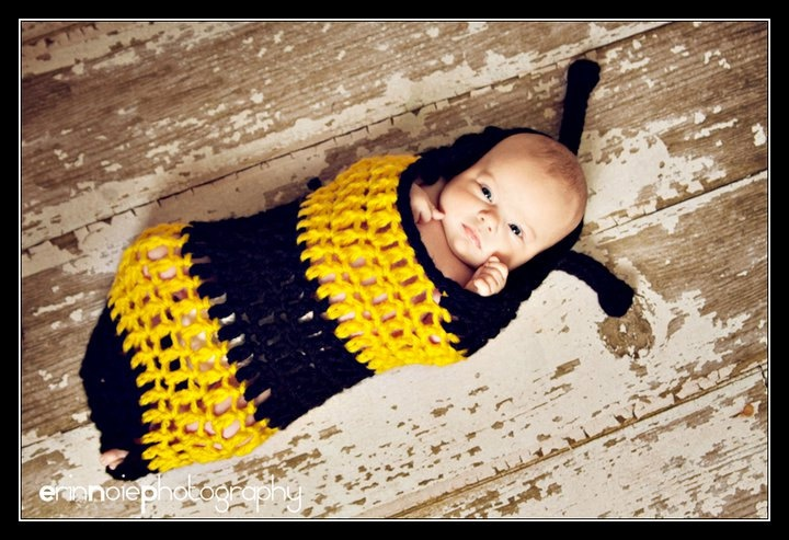 boy Baby Crochet Bumble Bee Cocoon Bumblebee Halloween Costume Photography Prop - Treasured Little Creations. $27.00, via Etsy.