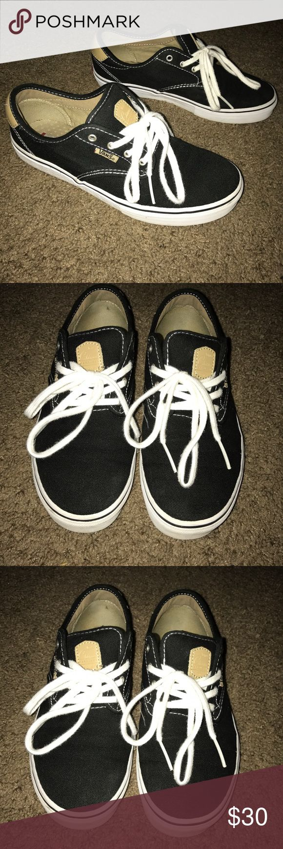 Vans Chukka Low Previously worn but in great condition as pictured! Grab these unique black, tan, and white sneakers to rock with any style. Boys 6.0 = Women's 7.5 (Vans size chart) Vans Shoes Sneakers